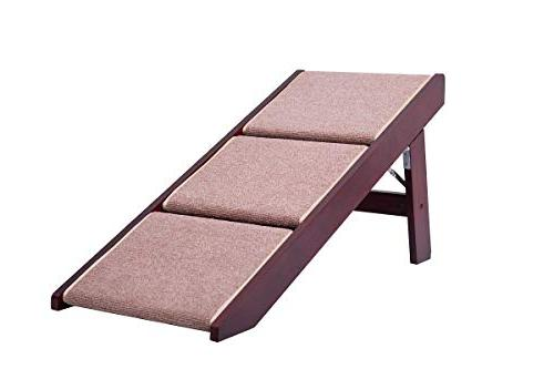 PAWLAND Portable Pet Stairs Dogs, Cats, beds, Wood Pet Safety Beside Ramp,Dog Steps, Pet