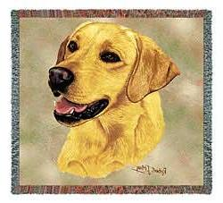 Pure Country 1152-LS Yellow Lab Pet Blanket, Canine on Beige