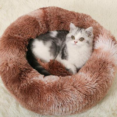 1xDonut Plush Pet Cat Bed Calming Nest Kennel