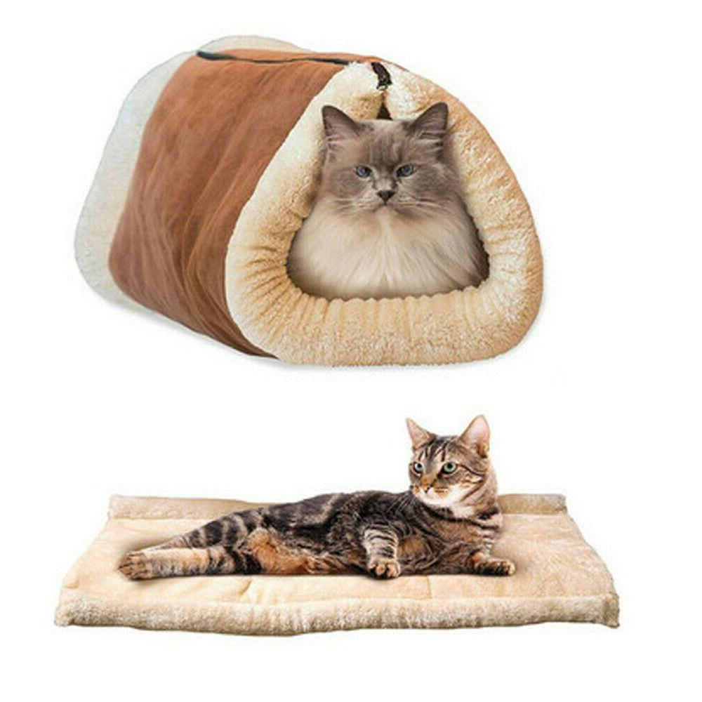 2 In 1 Dog Bed House Kennel Puppy Warm Nest Supper Mat Pad