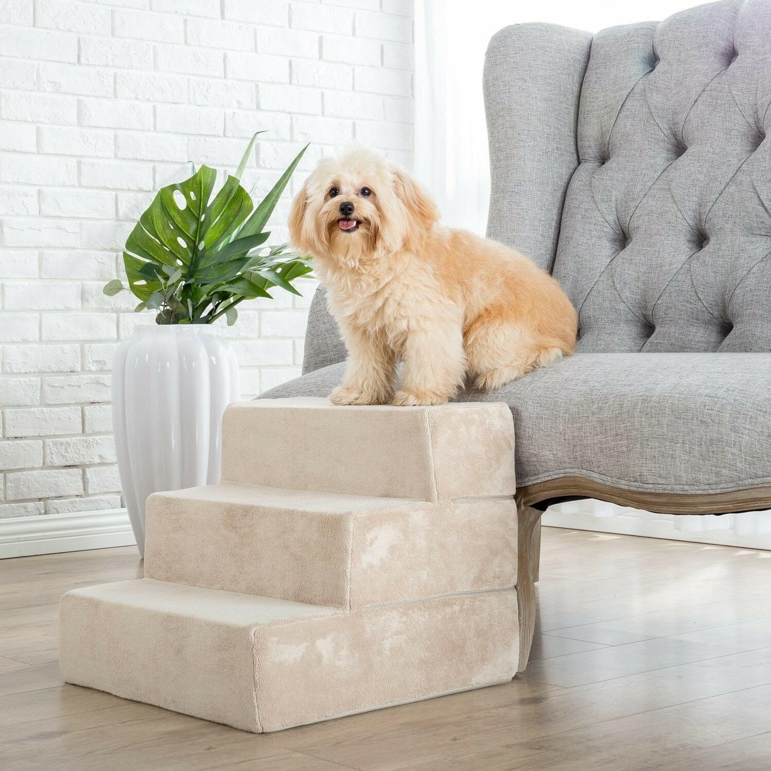 Zinus 3 Step Comfort Foam Pet Stairs for Small Dogs Cats Ram