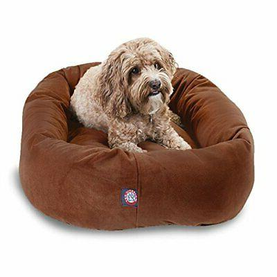 32 Rust Suede Bagel Dog Bed By Majestic Pet Products