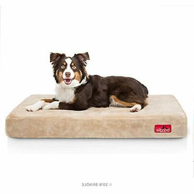 4 Inch Memory Foam Orthopedic Dog Bed - Removable Velour Cov