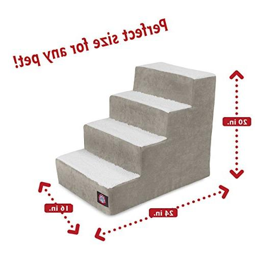 4 Step Pet Stairs By Pet Products Vintage for Dogs Grey