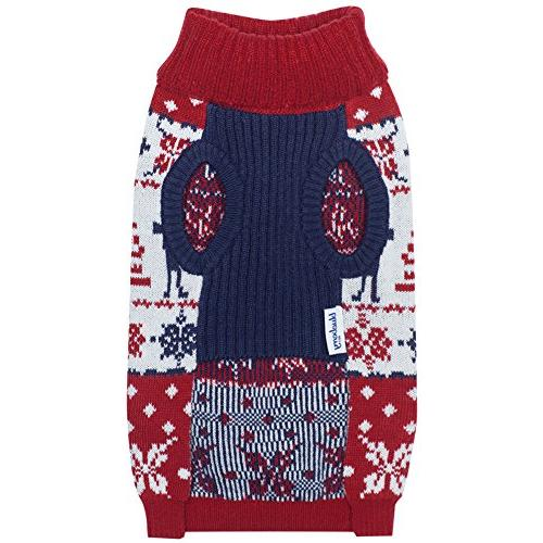 Blueberry 6 Patterns Vintage Ugly Reindeer Holiday Pullover Sweater Red & Length