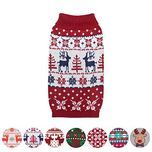 "Blueberry Pet Vintage Christmas Holiday Festive Sweater in Tango Red & Navy Length 16"", Pack of 1"