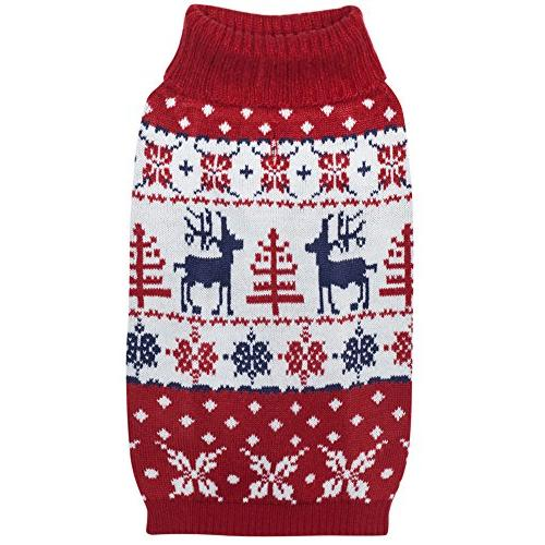 Blueberry Pet Vintage Christmas Reindeer Holiday Festive Sweater & Length Pack of 1 Dogs