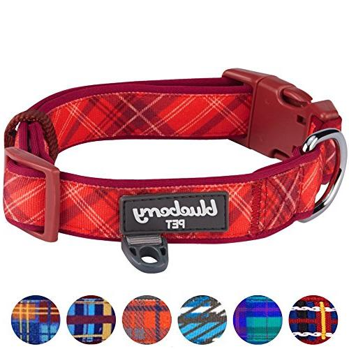 Blueberry Pet 7 Soft Comfy Aileen Red Plaid Style Collar, Neck Adjustable