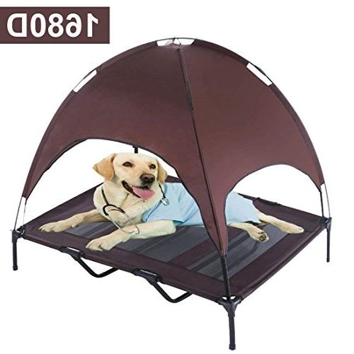 Reliancer XLarge 48 Elevated Dog Cot with Canopy Shade 1680D