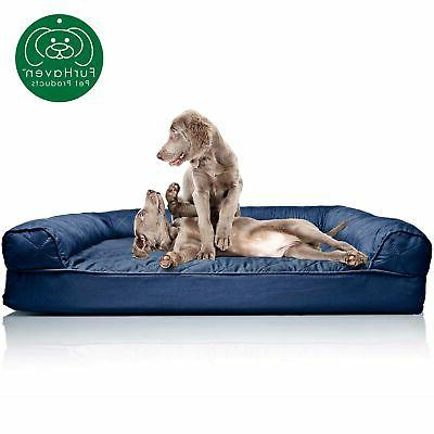 brand new furhaven jumbo quilted orthopedic sofa