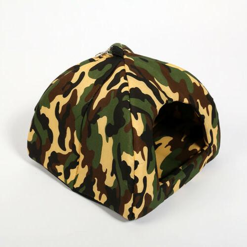 Camouflage Dog Bed House Soft Luxury Tent Puppy