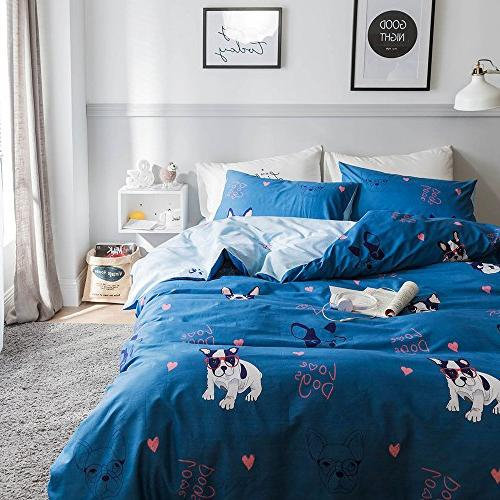 OROA Dog Queen Duvet Sets for Boys Lightweight Comfortable Pieces Child Bedding Sets