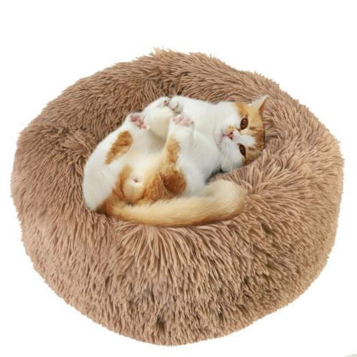 Cat Dog Bed Round Fur Sleeping Bed S-L