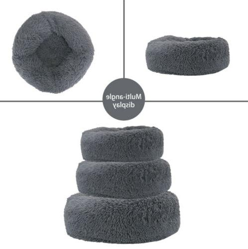 Cat Bed Self Warm Comfortable Plush Round Pet Bed Small Dog
