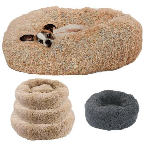 cat dog warm plush bed round calming