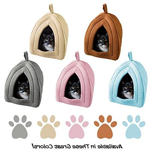 Cat Soft Indoor Tent/House for Cats, Kittens, and Pets Removable Pad PETMAKER