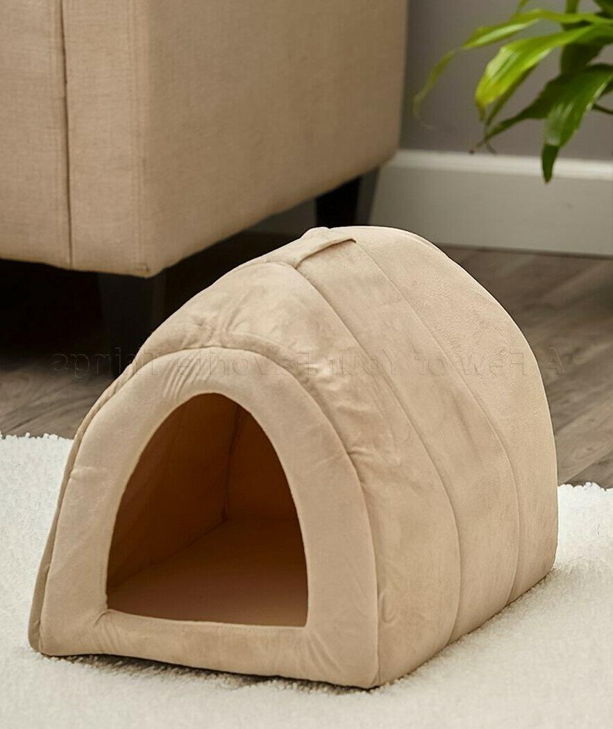 cozy igloo pet dog bed tan