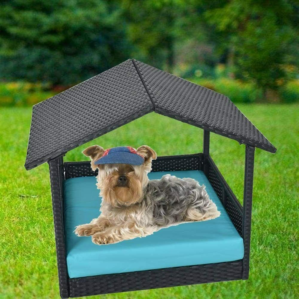 Outdoor Wicker Dog House Bed With Cushion Roof Shade Indoor
