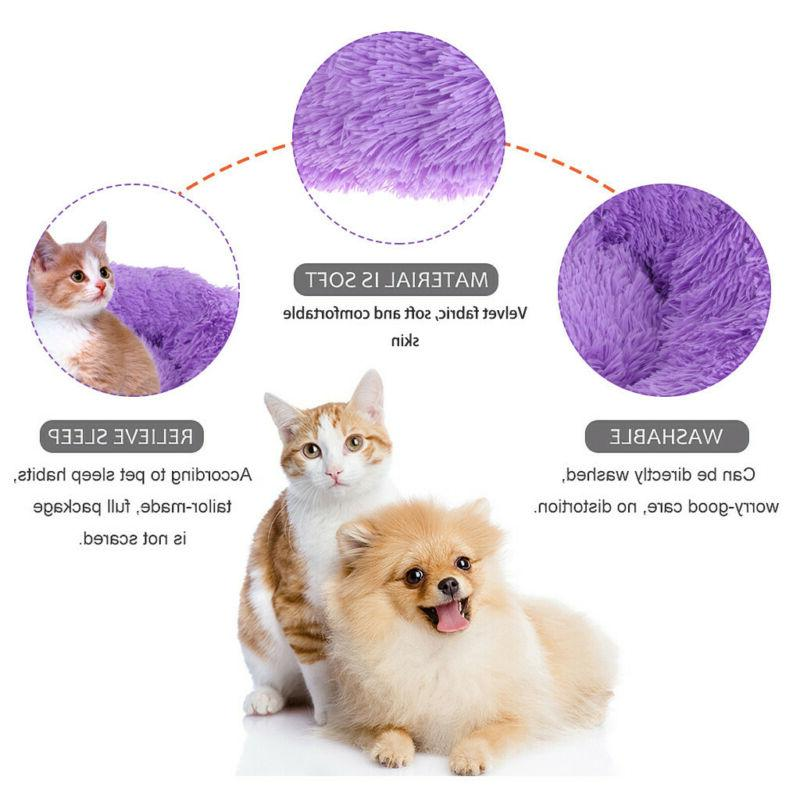 Cute Dog Calming Bed Round Warm Plush for