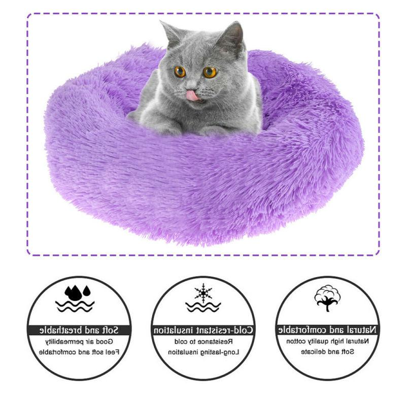 Cute Pet Calming Bed Round Warm Soft Comfortable for