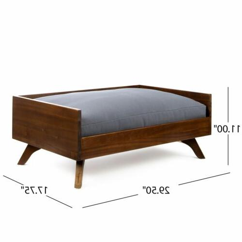 Darren Mid-Century Acacia Wood Dog Bed With Water Resistant