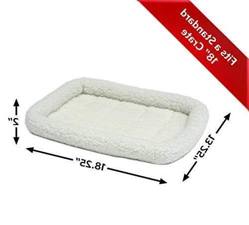 18L-Inch White Fleece Dog Bed w/ Comfortable Bolster Ideal for Dog Breeds & 18-Inch Easy Machine Wash & | 1-Year Warranty