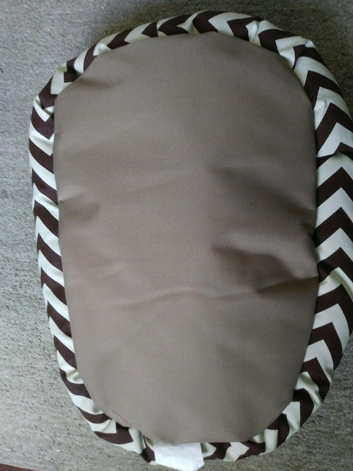 Dog Bed Chevron Sherpa Chocolate Brown Pet Bed