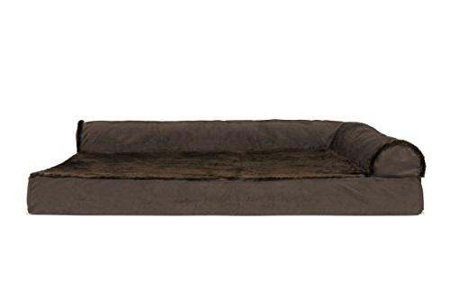 FurHaven Pet | Deluxe & Chaise Couch Bed Dogs Cats, Brown, Jumbo