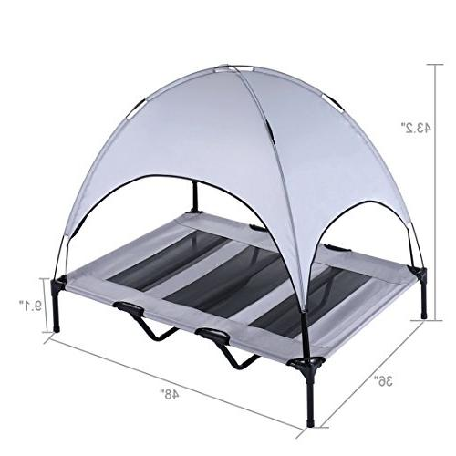 SUPERJARE XLarge Outdoor Dog Bed Elevated Pet with Canopy | Portable for or | 1680D Oxford Fabric |