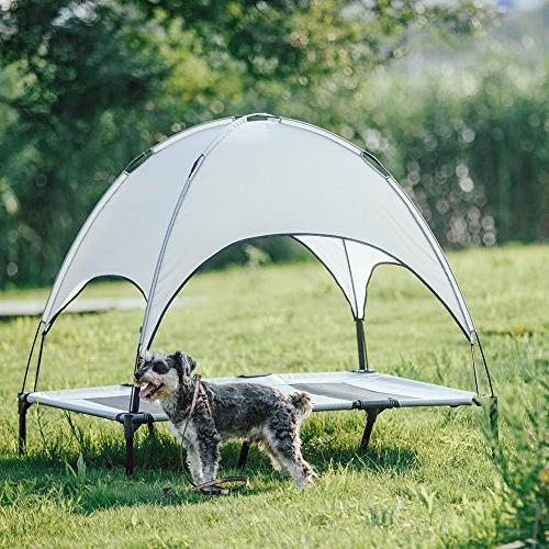 Bed Elevated with Canopy Portable for | Durable Oxford Fabric Gray