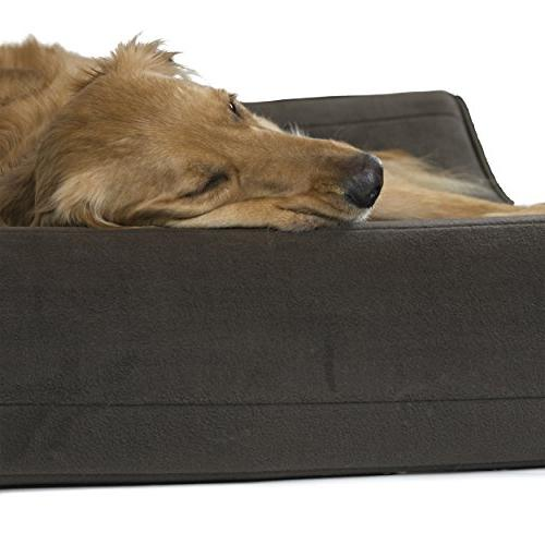 FurHaven Dog | Orthopedic Microvelvet Lounger Pet Bed Dogs Espresso, Jumbo