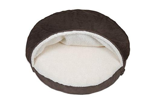 FurHaven Pet Dog Sheepskin Snuggery Bed for Dogs Cats, Espresso, 26-Inch