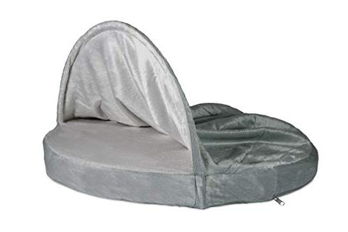 FurHaven Pet Dog Bed   Orthopedic Round Microvelvet Snuggery for Gray, 26-inch