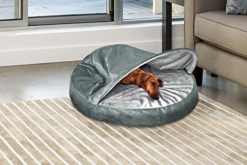 FurHaven Pet Bed Snuggery Burrow for & Gray, 26-inch