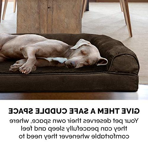 FurHaven | Orthopedic Ultra Plush Sofa-Style Pet for Dogs Cats, Espresso, Jumbo