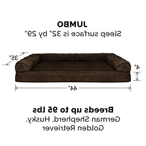 FurHaven | Orthopedic Ultra Sofa-Style Couch Bed for Dogs & Cats, Espresso, Jumbo
