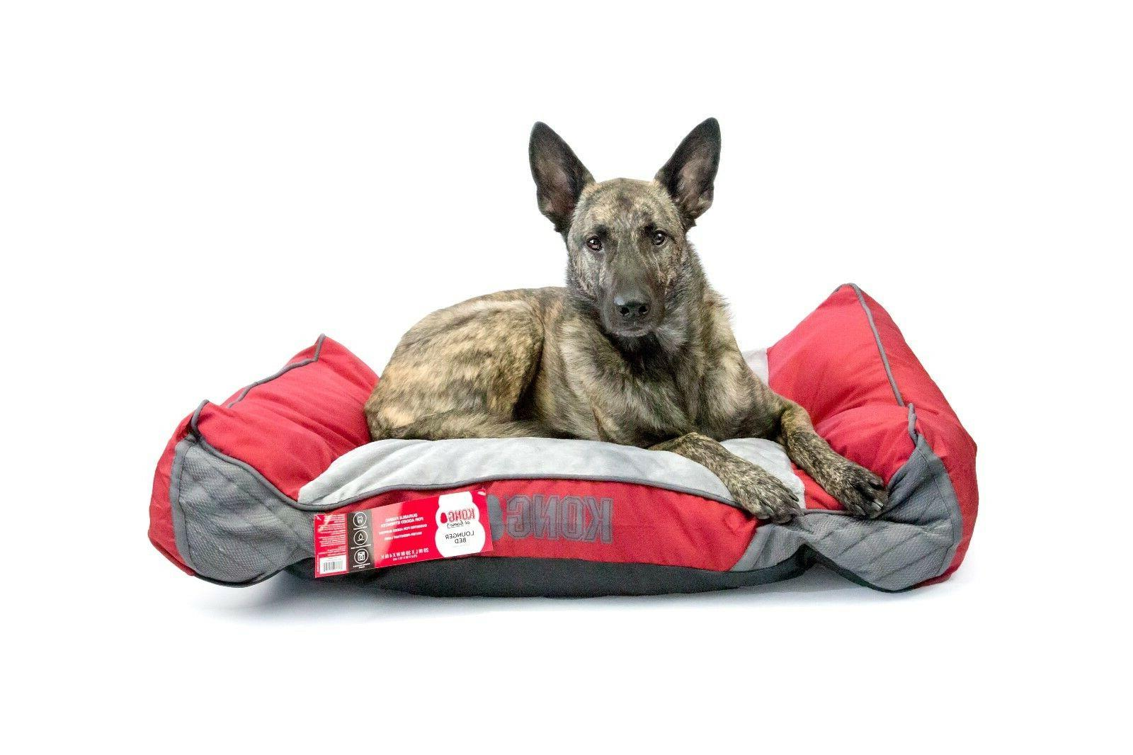 dog bed red chew resistant machine washable
