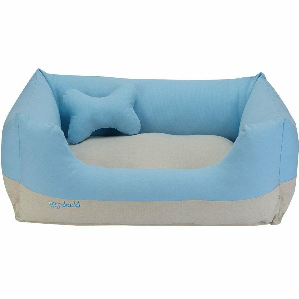 Blueberry Pet Small Baby Blue&Beige Heavy Duty Bed Bed
