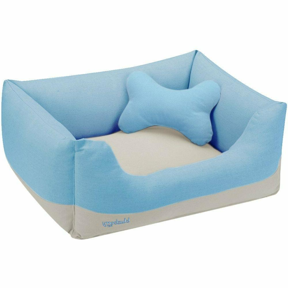 dog bed small canvas bed baby blue