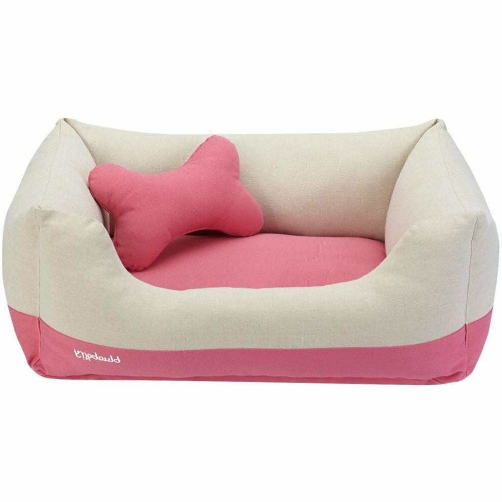 Blueberry Dog Bed Small Pink&Beige Duty Pet Bed