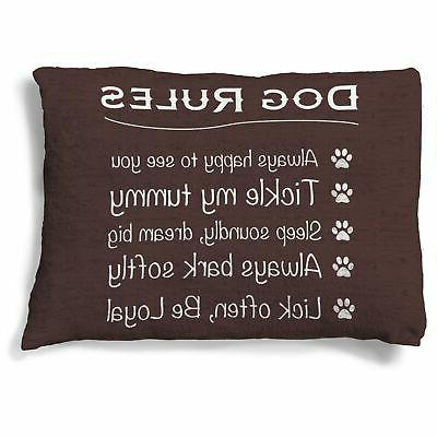 Laural Home Dog Rules to Live by Fleece Dog Bed Brown, White