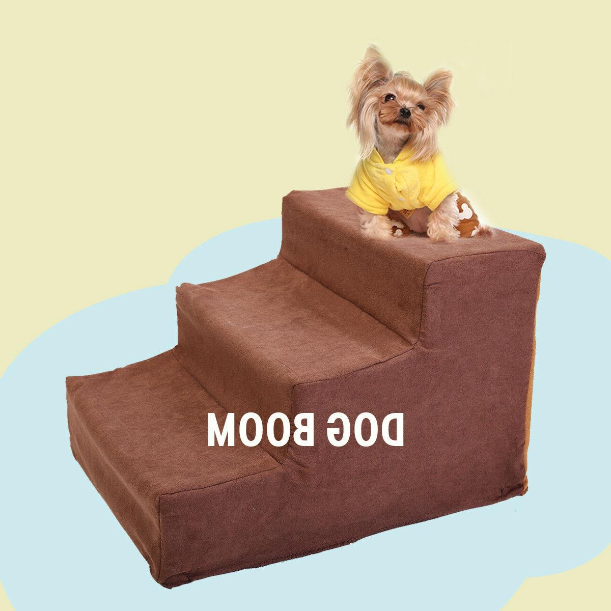 Dog Stairs Pet Ramp Ladder to get on High Bed 3 Steps with c
