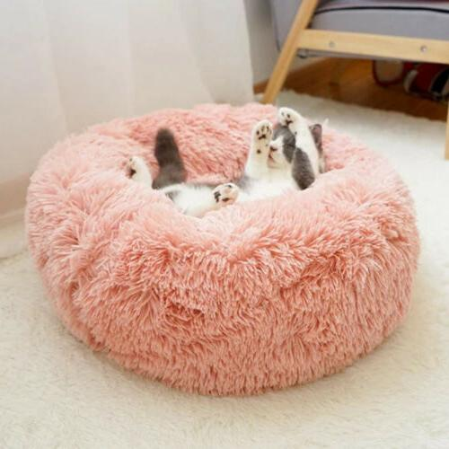 Round Plush Donut Dog Cuddler Warm Calming Kennel