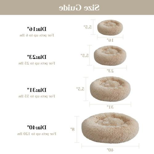 Donut Plush Pet Dog Cat Bed Warm Calming Kennel