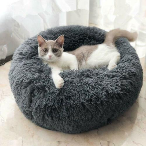 Round Plush Donut Pet Dog Cat Bed Fur Cuddler Calming Bed Kennel
