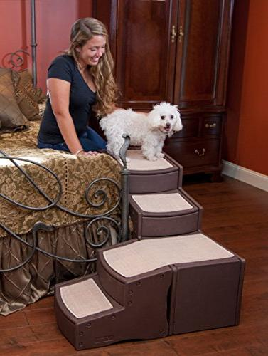 Pet Gear Bed Stair with Storage Compartment, Washable Space-Saving Multi-Position Design