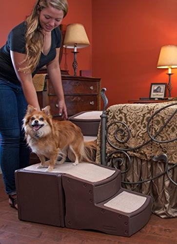 Pet Gear Step Bed Stair for with Storage Compartment, Removable Washable Carpet Treads, Multi-Position