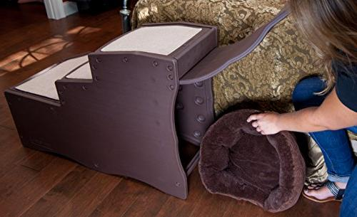 Pet Gear Easy Step Bed Stair with Storage Compartment, Removable Washable Carpet Multi-Position Design
