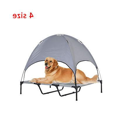 PawHut Elevated Pet Dog Foldable Outdoor Cot Tent Canopy Shelter