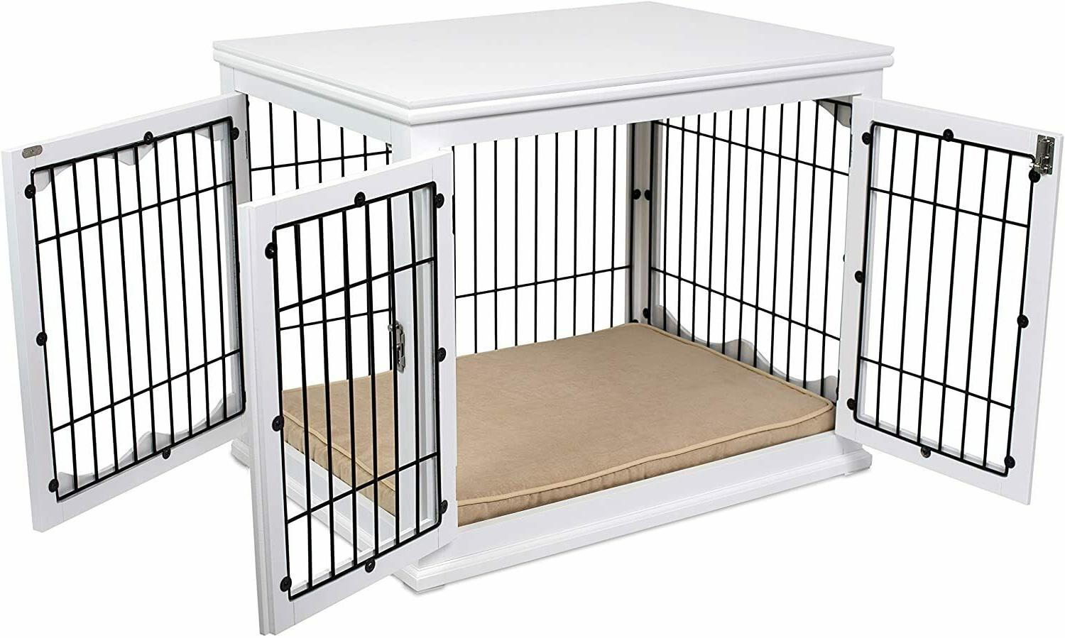 3 Door Dog Pet Crate End Table Cage Kennel Furniture House B